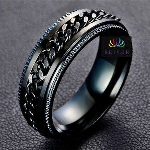 Jewelry - Black IP Grooved Edge Center Chain Spinner Ring